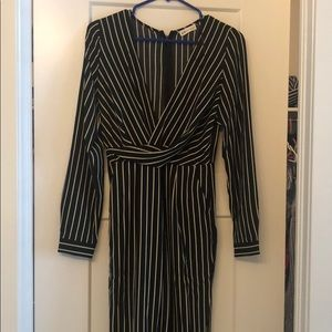 Yellow and black striped long sleeved jumpsuit
